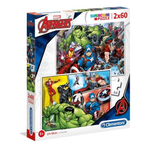 """PUZZLE 2X60 PEÇAS """"Marvel Avengers"""""""
