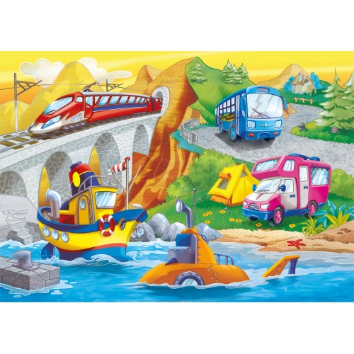 "Puzzle 2x60 Peças ""Meios de Transporte"""