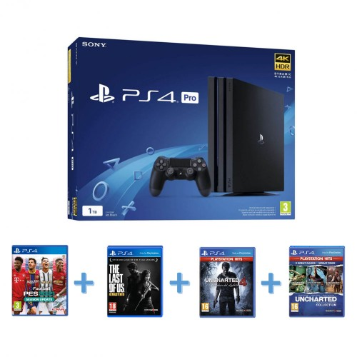PS4 PRO com Pes 2021 Season Update + The last of us + Uncharter 4 + Uncharter Colection