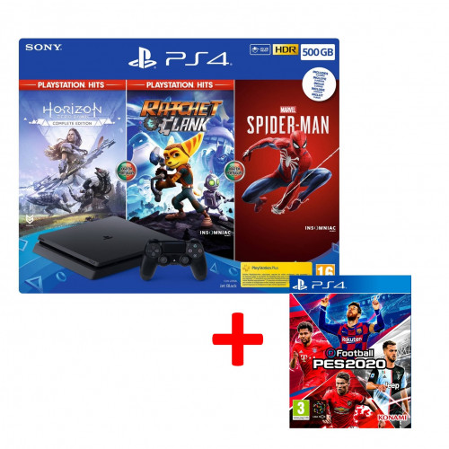 PS4 500GB com Horizon Zero Dawn + Ratchet Clank + Spider-man + Pes 2020